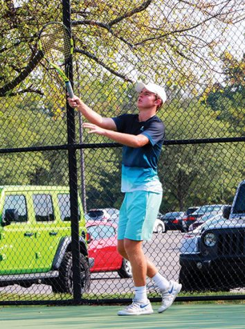 Senior Presley Thienemen works on his skills during practice. According to tennisrecruiting.net, Thienemen is a five-star recruit for the sport.
