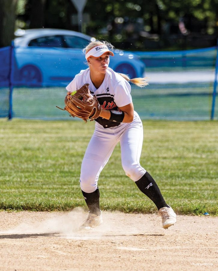 Senior Stormy  Kotzelnick playing a game for the Beverly Bandits 18U Premier team. Kotzelnick plays second-base for the Chicago-based team, one of the best in the nation.