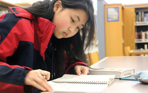 Freshman Sophia Yang completes her homework during SRT.  Yang said the 'model minority' stereotype has positives and negatives.