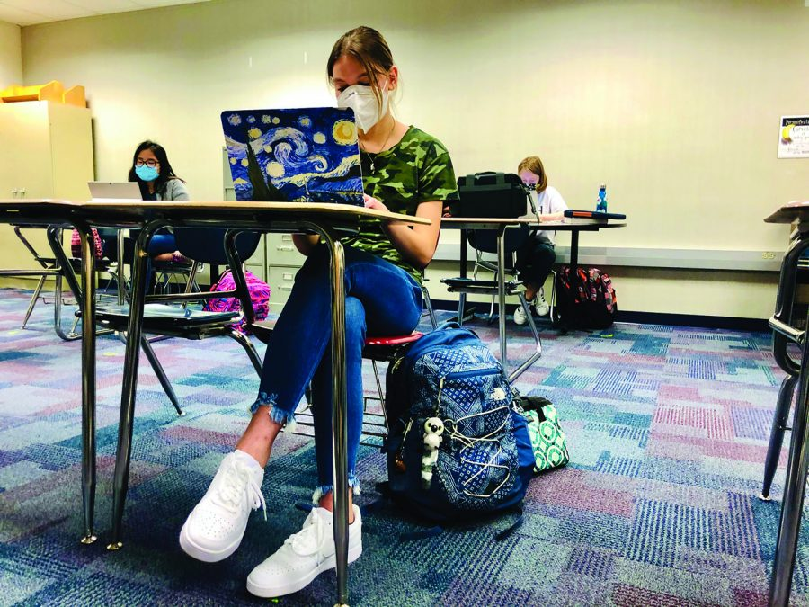 Tsion Daniel  Emily Garnes, Just Write Club member and junior, uses her laptop to write during a free write session for Just Write Club. Garnes said she likes writing poetry, fantasy and short stories.
