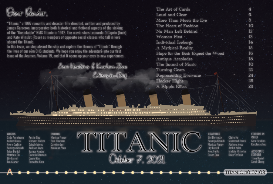 Titanic Table of Contents